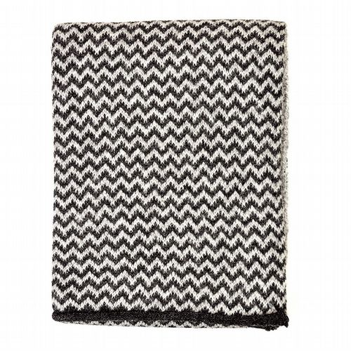 Alpaca Wool - Zig Zag Scarf - Black & Grey
